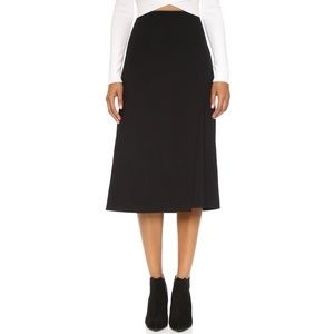 Theory Anneal Aster Jacquard Black midi skirt